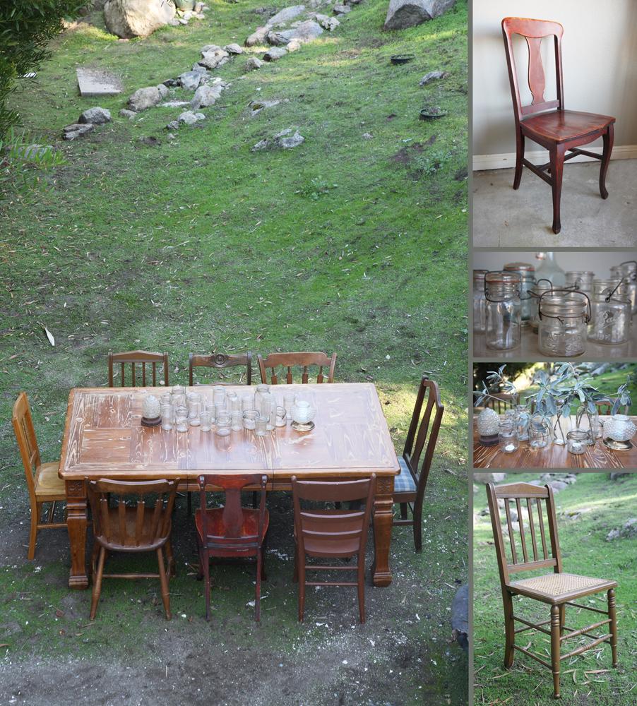 farm table, vintage chairs, ball jars