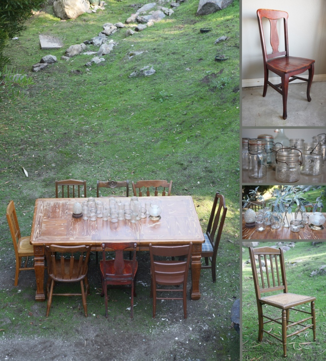 farm table, vintage chairs, ball jars