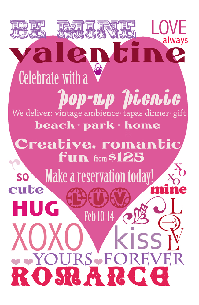 Pop-Up Picnic promotion, we bring the vintage ambiance and a tapas style dinner to the location of your choice