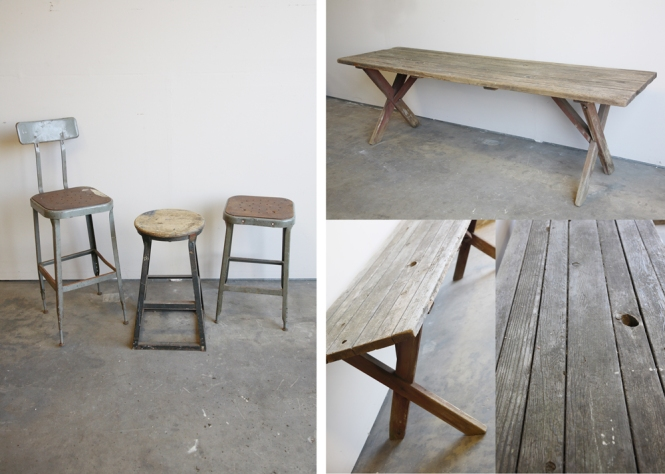 industrial stools, 3 and vintage picnic table