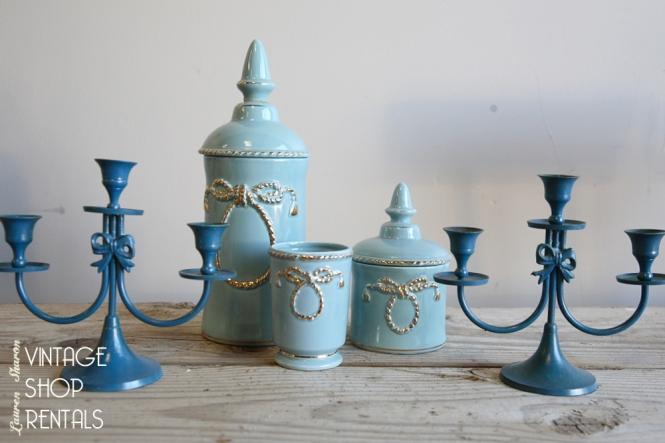 Vintage Blue Vases, Candelabra