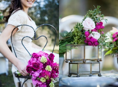 pink and green rustic wedding