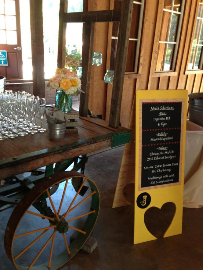 They made a half dozen of these standing chalkboard signs in the wedding colors to direct guests and display menus.