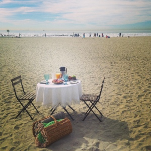 Bistro table and chairs on the beach picnic